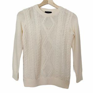 J Crew Merino Wool Cream Fringe Knit Sweater XXS